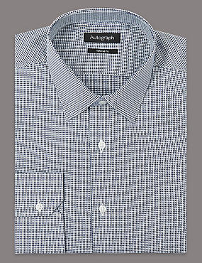 Pure Cotton Tailored Fit Textured Shirt, DARK NAVY MIX, catlanding