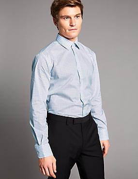 Supima® Cotton Tailored Fit Shirt, NAVY, catlanding