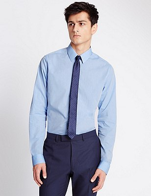 2in Longer Super Slim Fit Shirt, BLUE, catlanding
