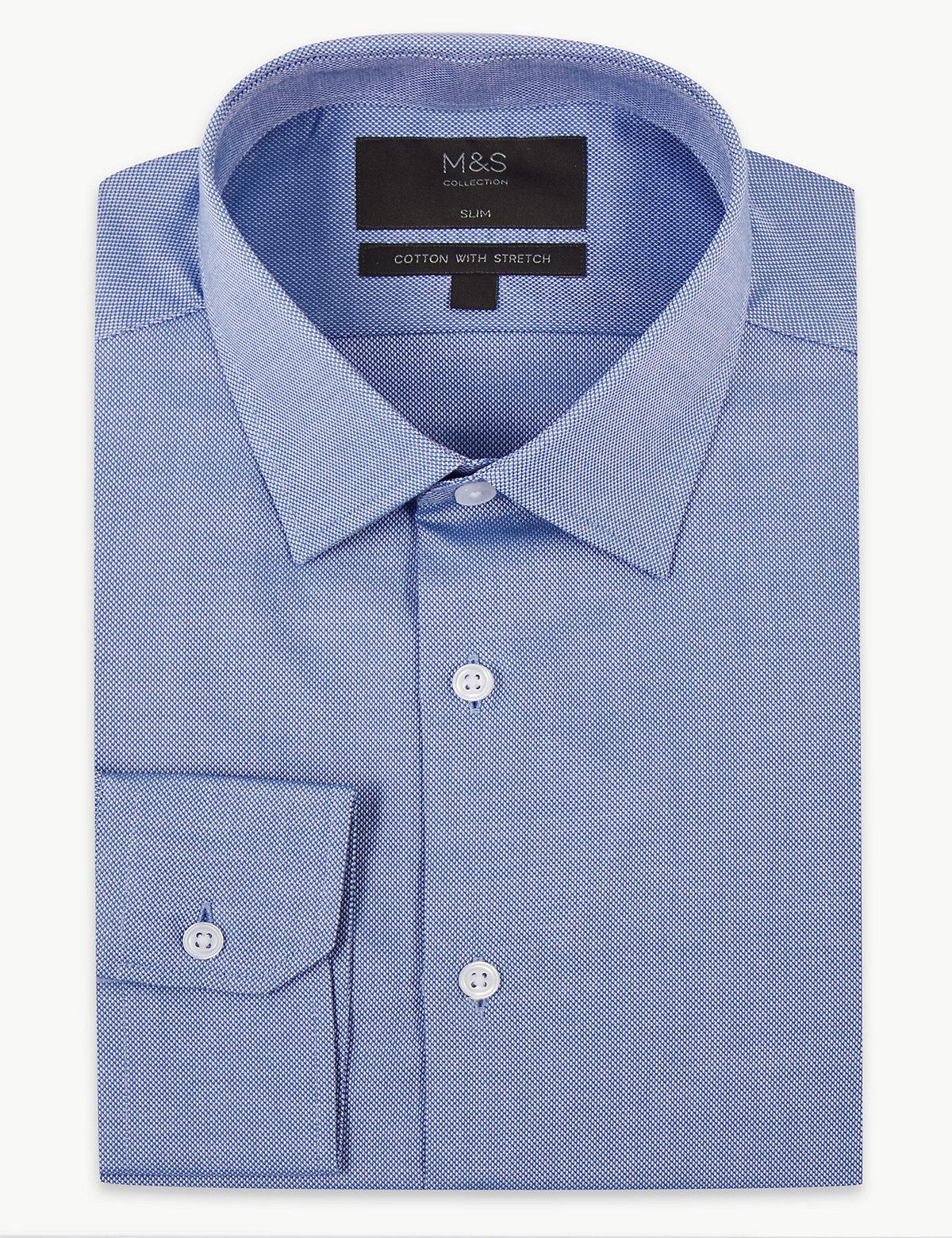 Эластичная мужская рубашка из натурального хлопка