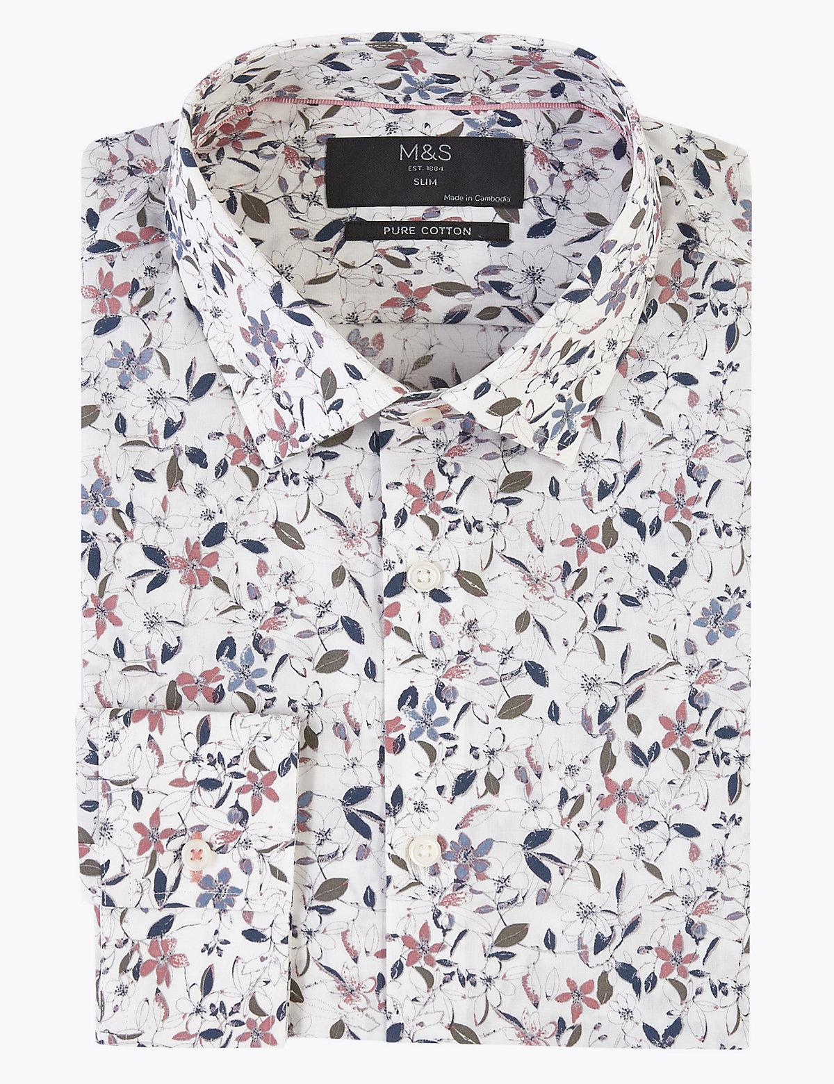 Приталенная рубашка из чистого хлопка с цветочным принтом