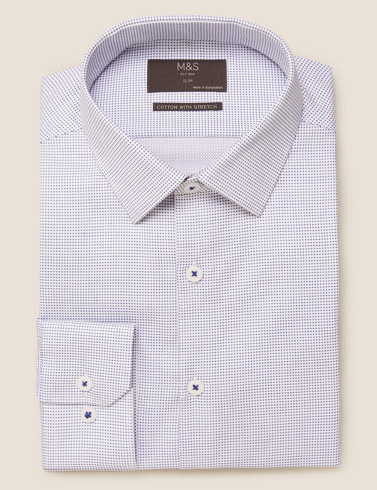 Текстурированная приталенная рубашка с отделкой Easy Iron