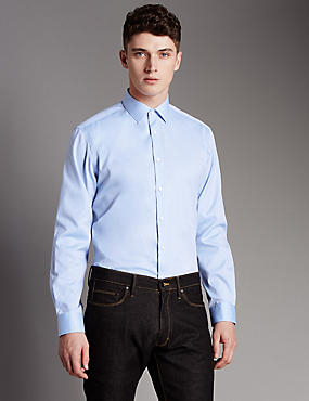 2in Shorter Pure Cotton Tailored Fit Shirt, BLUE, catlanding