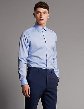 Pure Cotton Slim Fit Shirt, SKY, catlanding
