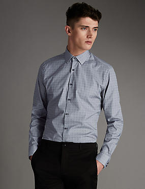 Pure Cotton Tailored Fit Dobby Spotted Shirt
