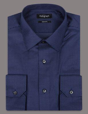 Слегка приталенная саржевая рубашка из люксового хлопка Supima® Autograph T110829A