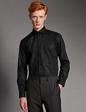 Pure Cotton Tailored Fit Shirt, BLACK, catlanding