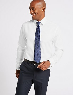2in Longer Pure Cotton Tailored Fit Shirt, WHITE, catlanding