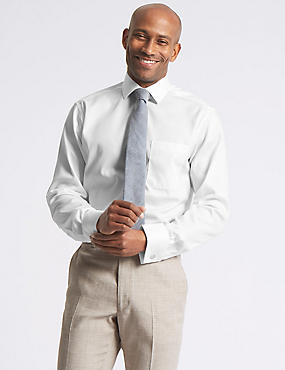 Pure Cotton Non-Iron Tailored Fit Shirt, WHITE, catlanding