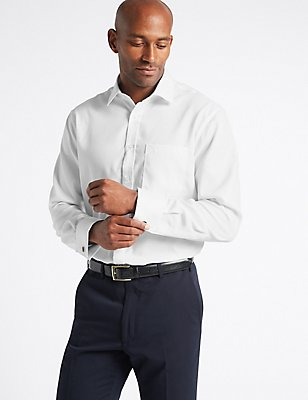 Pure Cotton Non-Iron Regular Fit Shirt, WHITE, catlanding