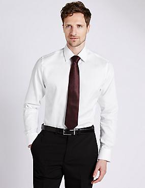 5 cm langer strijkvrij gestreept overhemd van puur katoen, WIT, catlanding