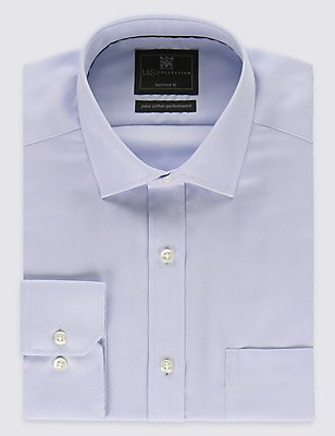 Pure Cotton Tailored Fit Shirt with Pocket, SKY, catlanding