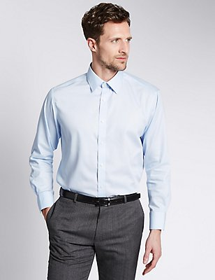 2in Shorter Non-Iron  Regular Fit Shirt, SKY, catlanding