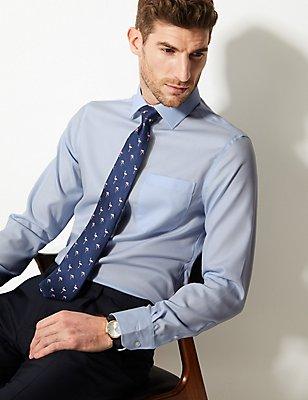 Bügelfreies Hemd aus reiner Baumwolle in schmalem Schnitt, HIMMEL, catlanding
