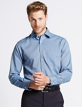 2in Longer Pure Cotton Non-Iron Oxford Shirt, BLUE BLUE, catlanding