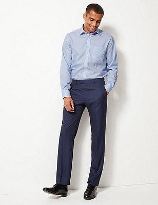 Performance Pure Cotton Non-Iron Fine Checked Shirt, BLUE, catlanding