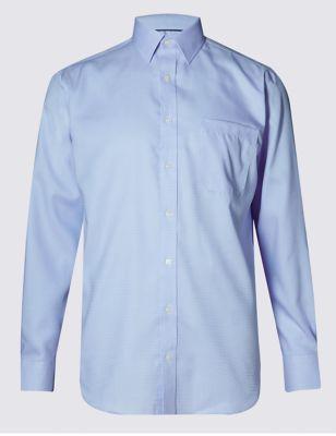 Рубашка из чистого хлопка Performance в миниклетку с технологией Non-Iron M&S Collection T111089U