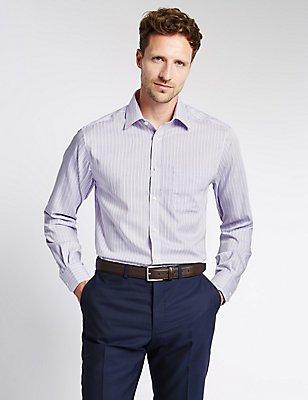 Pure Cotton Non-Iron Shirt with Pocket, MAUVE, catlanding