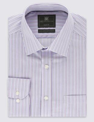 Рубашка Performance из чистого хлопка в полоску с технологией Non-Iron M&S Collection T111110U