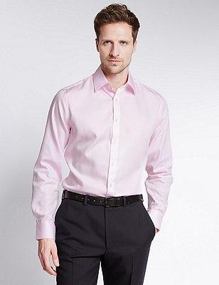 Non-Iron Pure Cotton Slim Fit Shirt, PINK, catlanding
