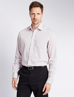 2in Longer Pure Cotton Non-Iron Striped Shirt, PLUM, catlanding