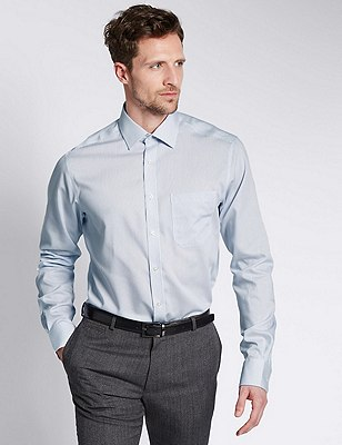 2in Longer Pure Cotton Non-Iron Striped Shirt, SKY, catlanding