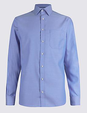 Chemise 100% coton avec poche, sans repassage, BLEUET, catlanding