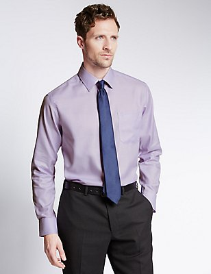 Pure Cotton Non-Iron Shirt with Pocket, LILAC, catlanding