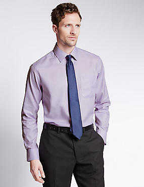 Chemise 100% coton avec poche, sans repassage, LILAS, catlanding