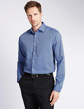 Pure Cotton Non-Iron Slim Fit Striped Shirt, NAVY MIX, catlanding