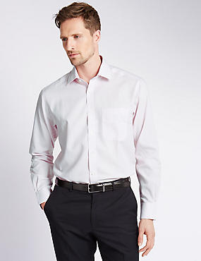 Pure Cotton Non-Iron Shirt with Pocket, PINK, catlanding