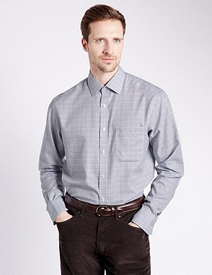 2in Longer Performance Pure Cotton Checked Shirt, PLUM MIX, catlanding