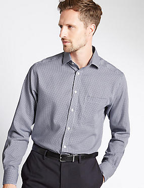 Pure Cotton Tailored Fit Shirt with Pocket, INDIGO, catlanding