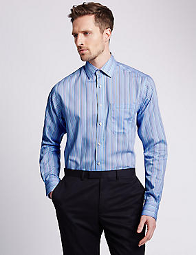 2in Longer Performance Pure Cotton Non-Iron Striped Shirt