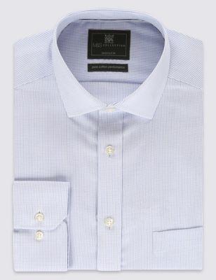 Рубашка Performance из чистого хлопка Non-Iron в микроклетку с одинарными манжетами M&S Collection T111199T