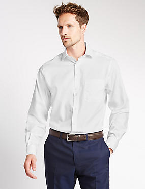 Performance Pure Cotton Non-Iron Tailored Fit Shirt, WHITE, catlanding