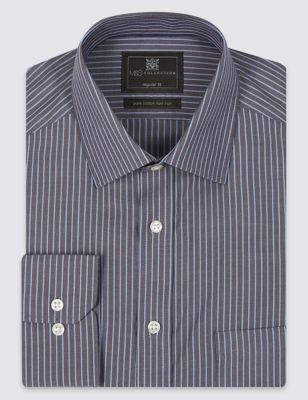 Рубашка Non-Iron из чистого хлопка в полоску с карманом M&S Collection T111241U