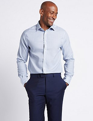 Pure Cotton Non-Iron Slim Fit Shirt, DARK NAVY MIX, catlanding