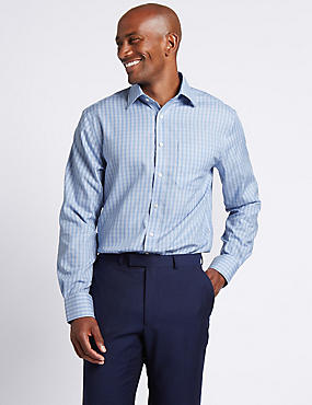 Pure Cotton Non-Iron Regular Fit Shirt, MEDIUM BLUE MIX, catlanding