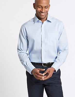 2in Longer Pure Cotton Regular Fit Shirt, SKY, catlanding
