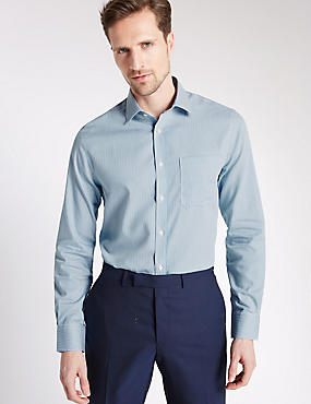 Pure Cotton Slim Fit Shirt with Pocket, KINGFISHER, catlanding