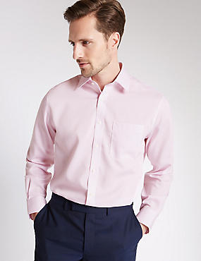 Pure Cotton Non-Iron Regular Fit Shirt, LIGHT PINK, catlanding