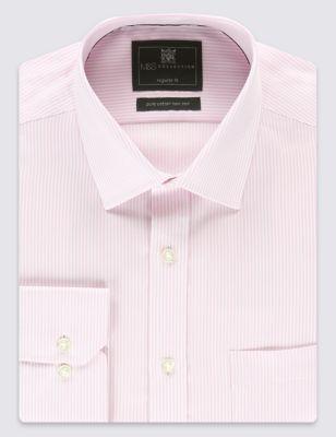 Рубашка из чистого хлопка Non-Iron в классическую тонкую полоску с карманом