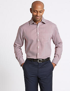 Pure Cotton Non-Iron Regular Fit Shirt, CRANBERRY, catlanding