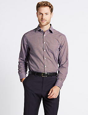 Pure Cotton Non-Iron Regular Fit Shirt, DARK WINE, catlanding