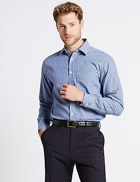 Pure Cotton Non-Iron Regular Fit Shirt, DARK NAVY MIX, catlanding