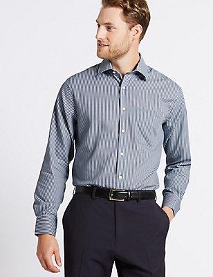 Pure Cotton Non-Iron Regular Fit Shirt, DARK GREY MIX, catlanding