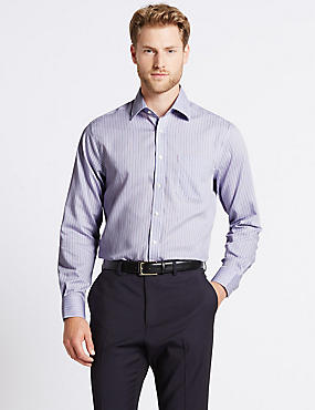 Pure Cotton Non-Iron Regular Fit Shirt, LILAC MIX, catlanding