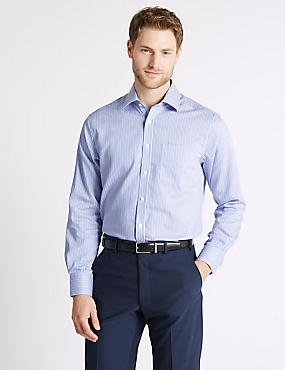 Pure Cotton Non-Iron Regular Fit Shirt, BLUE MIX, catlanding