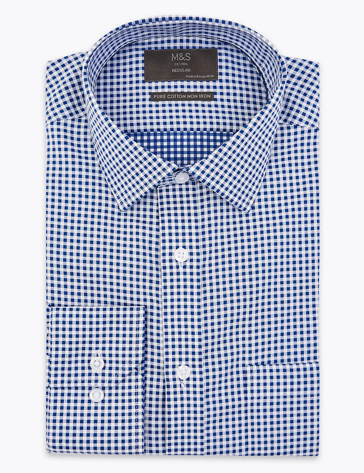 Рубашка в клетку Non Iron с длинным рукавом